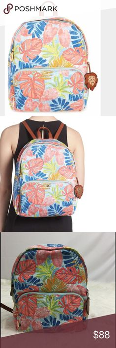 "Tommy Bahama Maui zip backpack in artist leaf NWT Tommy Bahama Maui backpack in artist leaf NWT.  Adjustable straps, darling hula girl interior.  Measures approximately 10"" x 15.5"" x 6"".  Great for travel to Hawaii or any tropical location or on campus dreaming of spring break! Tommy Bahama Bags Backpacks"