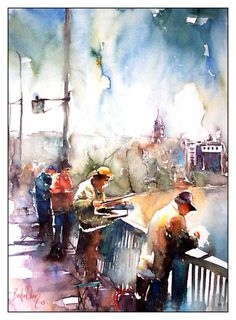Burhan Özer Watercolor Portraits, Watercolor Artists, Watercolour Painting, Watercolors, Ink In Water, Sketch Painting, Paintings I Love, Watercolor Landscape, Lovers Art