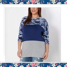Tie dye blocked dolman shirt-rue21 plus size Rue 21 plus Tie Dye Blocked Dolman Top 2X BRAND NEW WITH TAGS. 3/4 sleeves (see pix) ❤️relaxed fit,could probably fit up to 3X.   I sized up not knowing how rue 21 plus size line runs. Should have stuck to my real size (1x)   Details:  rue+ Collection Front pocket 95% rayon, 5% spandex Machine wash Model wears size 1X Rue 21 Tops Tees - Short Sleeve