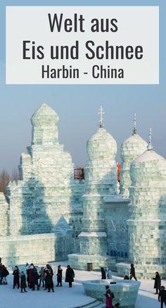Eine Welt aus Eis und Schnee wird jeden Winter in Harbin in China aufgebaut. Eine absolut beeindruckende Sehenswürdigkeit! Reisetipps, Bilder und Videos im Blogbeitrag! Harbin, Amazing Destinations, Travel Destinations, In China, Where To Go, Taj Mahal, Asia, Wanderlust, Snow