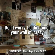 elementary tv show art  wall of crazy sherlock holmes