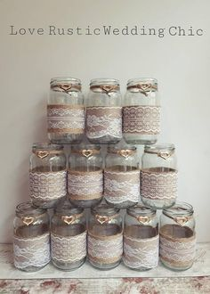 burlap mixed lace rustic centrepiece twine vase tealight country wedding table decor BRAND NEW Jam Jar Wedding, Gift Table Wedding, Wedding Gifts, Wedding Tables, Hessian Wedding, Tipi Wedding, Wedding Venues, Bridal Shower Decorations, Wedding Decorations