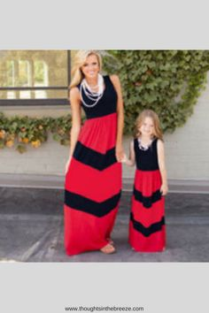 ded7d51119b Mom Girl Stripes Color Block Floor Length Matching Dress clothes