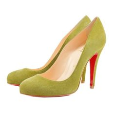 christian louboutin ron ron suede pumps chartreuse