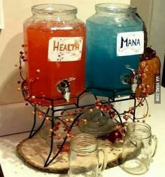 Health and Mana potion, obviously a gamer party. Or at least a non-gamer's idea of awesome (: