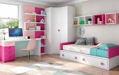 Habitación juvenil blanco , fucsia y rosa con tirador botón Room Design Bedroom, Girl Bedroom Designs, Home Room Design, Kids Room Design, Small Room Bedroom, Kids Bedroom, Bedroom Decor, Little Girl Rooms, Baby Room Decor