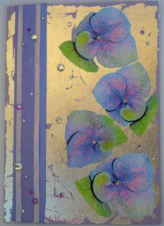 Decoupage Card with Silver Leaf, Hydrangeas, Ribbon and Rhinestones