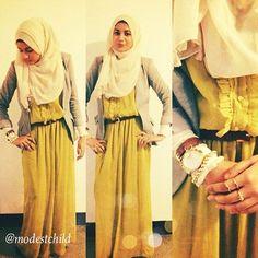 Mustard colour is very elegant Modesty Fashion, Hijab Fashion, Girl Fashion, Ugly Outfits, Modest Outfits, Modest Clothing, Islamic Fashion, Muslim Fashion, Turban