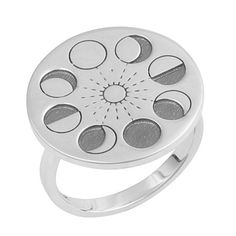 Sterling Silver Moon Phase Ring.-925 sterling silver.-Diameter: 30mm Disk.-High polish, oxidised.-Packaged in an Empty Casket gift box.For help with ring sizes please click the 'RING SIZES' link at the bottom of the page.