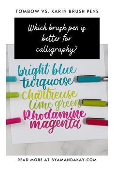 Tombow dual brush pens and Karin brushmarker Pro are both popular choices for brush lettering. So which one is actually better for modern calligraphy? Calligraphy Tutorial, Calligraphy For Beginners, Lettering Tutorial, Watercolor Lettering, Brush Lettering, Hand Lettering, Watercolour Painting, Pretty Fonts Alphabet, Tombow Dual Brush Pen