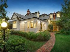 weatherboard house, Melbourne's inner eastern suburbs, Victoria, Australia Board: Houses For Sale Cottage Exterior, Exterior House Colors, Exterior Design, Craftsman House Plans, Country House Plans, Weatherboard Exterior, Melbourne, Facade House, House Exteriors