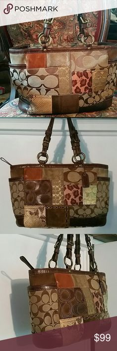 Coach patchwork bag This is preloved Authentic and beautiful patchwork Coach bag. Very clean inside and only a little wear/dirt on the suede (pic 6) on the outside. Really not obvious. Gorgeous bag with plenty of room, I just don't carry it as much as I thought I would. PLEASE no lowballs, I'd rather keep it then give it away! Thx for looking 💖 Coach Bags Shoulder Bags