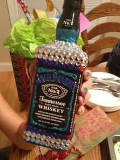 Bedazzled Booze Bottles and other DIY 21st Birthday Presents on Pinte…