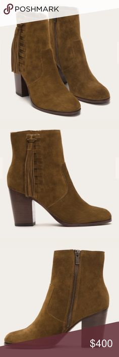 """NIB Frye Tassel Booties - Chestnut Boho-minded at heart, this casual bootie is handcrafted from beautiful oiled suede. Side lacing and tassel detail add whimsy to the clean-lined look of this mid-heel style while the inside zip gets you easily in and out. Tassel is removable to give the boots a different look. New in box. No trades.   - Leather lined - Rubber outsole - 6"""" shaft height - 10 1/4"""" shaft circumference - 3 1/4"""" heel height - Removable tassel Frye Shoes Ankle Boots & Booties"""