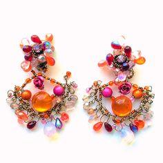 Boucles d'oreille KETIKO à perles de verre : Boucles d'oreille par ketiko