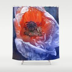 Abstract poppy(1). Shower Curtain #society6 #maryberg #textile #abstract #design  #blue #pink #purple #red #showercurtain #poppy