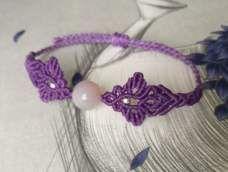 【原创】单珠斜卷结手绳—紫桷