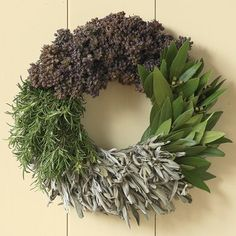 Herb Wreath- bay leaf, sage, rosemary & purple oregano #williamssonoma
