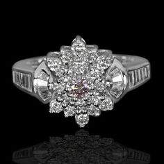 c2a8777c0143 14k White Gold Natural 1.10 Carat Argyle Pink Diamonds Vintage Ring handmade