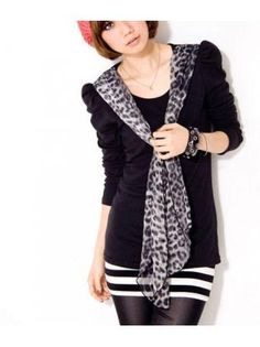 Casual Long Sleeve Round Neck Tees with Leopard Scarf Leopard Scarf, Tees, Long Sleeve, Casual, Mens Tops, Fashion, Moda, Chemises, Tee Shirts