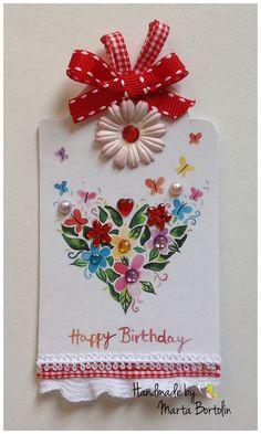 Happy Birthday Tag Card Birthday Card Tag card by tracesofcrafts Happy Birthday Tag, Birthday Tags, Card Tags, Unique Jewelry, Handmade Gifts, Etsy, Kid Craft Gifts, Craft Gifts, Costume Jewelry