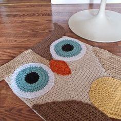 crochet owl carpet - Gerepind door www.gezinspiratie.nl #haken #haakspiratie #knutselen #creatief #kind #kinderen #kids #leuk #crochet