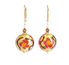 Murano Glass Orange Flower Disc Gold Earrings