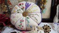 Hand Embroidered Vintage Linen Petal Pincushion Colourful Flowers