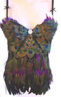 SEXY HOT PEACOCK Feather Corset Custom Made Las Vegas Burlesque