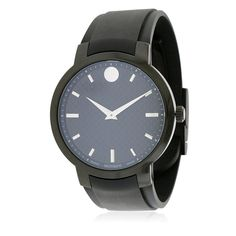Movado Mens Carbon Dial Black Rubber Strap Swiss Quartz Watch 0606849 for sale online High End Watches, Cool Watches, Men's Watches, Cheap Watches, Fashion Watches, Vintage Watches For Men, Luxury Watches For Men, Black Quartz, Swiss Army Watches