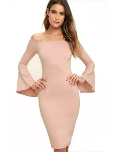 Spring 2017 Women Off Shoulder Dress Vintage Pink Black Sexy Bodycon Dress Club Wear Long Flare Sleeve Tight Wrap Party Dresses