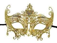 Crown Filigree Gold Masquerade Mask With Clear Rhinestones