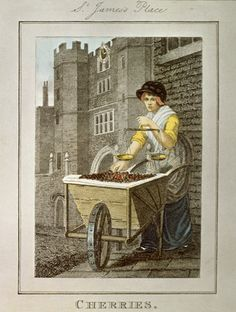 Cherry seller outside St. James's Palace. I love the cart she is selling from and her black silk bonnet