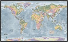 Amazon 24 x 36 world traveler push pin map with black world topographical physical wall map gumiabroncs Image collections