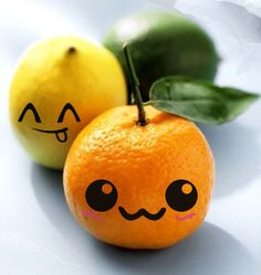 an orange and a lemon