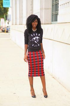 patterned pencil skirt & sweater