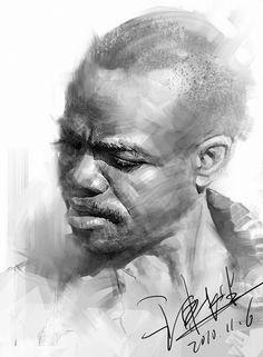 African-American black man digital portrait drawing, 2010.