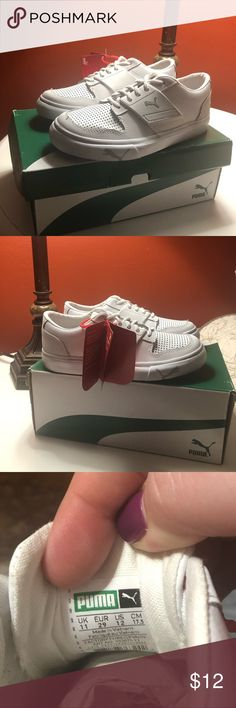 c8651818d61 White puma slip on sneakers size 12 child New in box with tags size 12c  leather