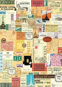 Cavallini Paris Ephemera Wrapping Paper