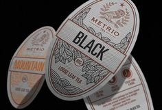 Metrio tea package and label design by  Robinsson Cravents #typography #packaging http://www.behance.net/robinssoncravents