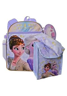 Carry your two favorite princesses everywhere you go with this Frozen 2 16 Disney Frozen, Disney Pixar, Frozen Merchandise, Insulated Lunch Box, Personalized Backpack, Pencil Pouch, Party Accessories, School Bags, Adult Coloring