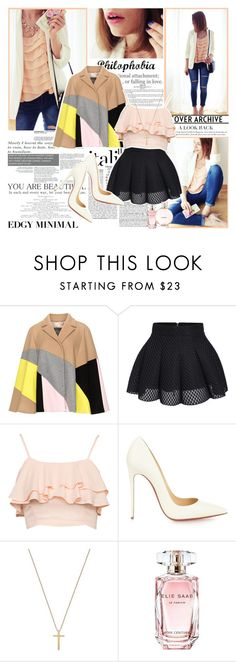 """""""Edgy minimal"""" by mlucyw ❤ liked on Polyvore featuring J.A.K., Persona, Christian Louboutin, Gucci, Elie Saab and Chanel"""
