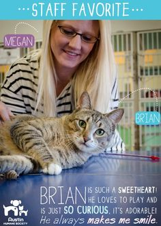 Megan, Austin Humane Society Major Gifts Officer, loves Brian because he always makes her smile!