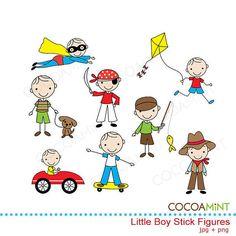 Pequeñas figuras de palo niño Clip Art