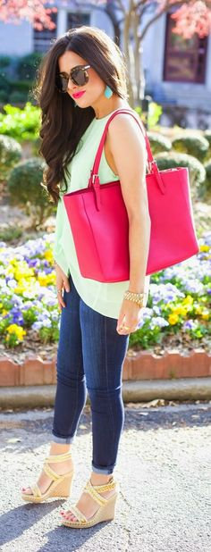Daily New Fashions: BRIGHT SPRING CLOSET STAPLES - Sleeveless Georgette High/Low Blouse with Denim Jeans and Sandals / The Sweetest Thing