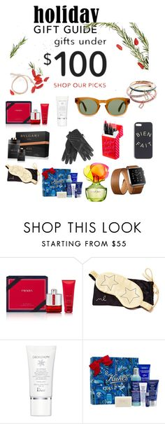 """Gift ideas under 100"" by bethga ❤ liked on Polyvore featuring Prada, Morgan Lane, Christian Dior, Ultimate, Hostess, Kiehl's, Bulgari and giftguide"