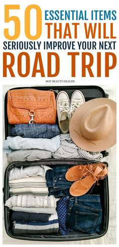 Planning to go on a little travel adventure this winter or for the upcoming spring and summer? Here is an awesome road trip packing list of 50 essential items you need to take with you. There's a free printable you can download too! Hot Beauty Health #travel #roadtrip #packinglist #printable #traveltips