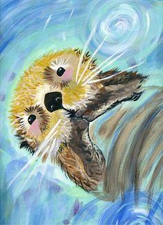 Sea Otters Painting Original Watercolor Painting Newborn Unisex Baby Room Wall Decor Signed by Artist kids Bedroom Nursery Art