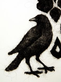 "Stephanie Metz  Damask Crow (detail),"" wool felted through paper"