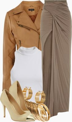 Brown Jacket And Skirt With Jewellary
